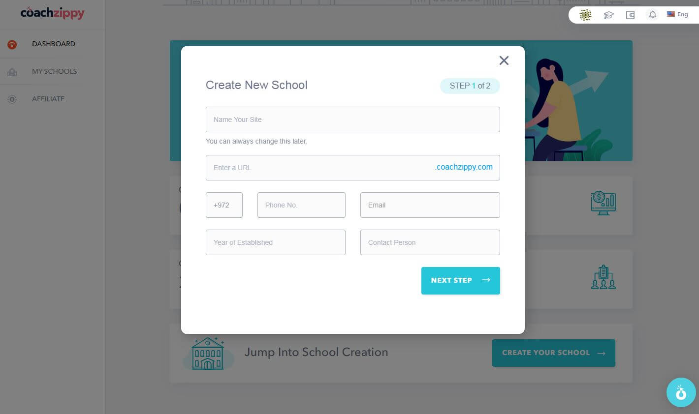 CoachZippy - Create New School