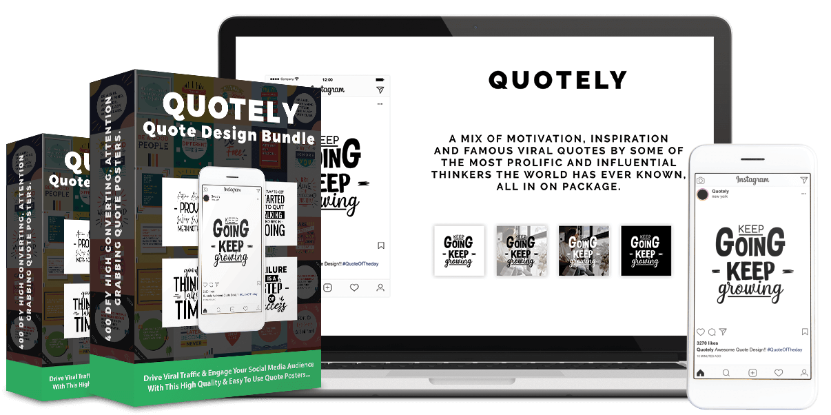 Quotely Review - What is Quotely In this Super Awesome bundle, you'll get a unique package with 400 eye catching viral quotes design that anyone can use to generate mass viral traffics from Facebook, Instagram, Twitter, website, blog or any social media platforms.